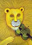 Lion playing violin. Artwork by Phoebe Stone.
