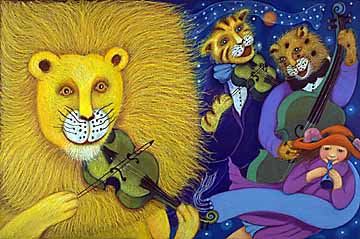 "Then the lions and leopards and lynx play the strings. Arwork from the book ""When the Wind Bears Go Dancing"", by Phoebe Stone"