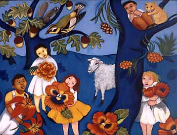 "Artwork of children, flowers and animals from the book ""In God's Name"""