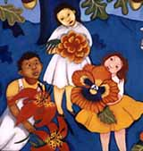 "three children with flowers, detail of artwork from ""In God's Name."